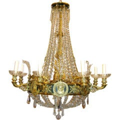 Empire Style Bronze and Crystals Chandelier