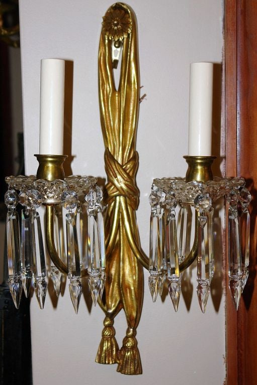 Wall Sconces With Hanging Crystals : Pair of Bronze Sconces with Hanging Crystal at 1stdibs
