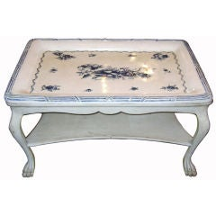 Swedish Blue and White Porcelain Top Table