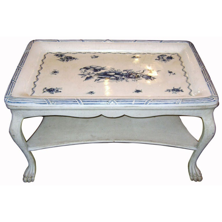 Swedish Blue and White Porcelain Top Table For Sale