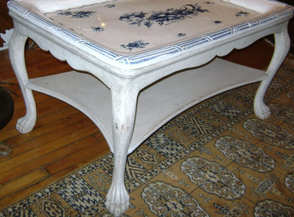 20th Century Swedish Blue and White Porcelain Top Table For Sale