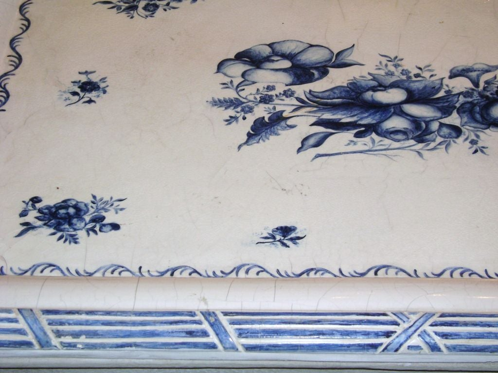 Swedish Blue and White Porcelain Top Table For Sale 1