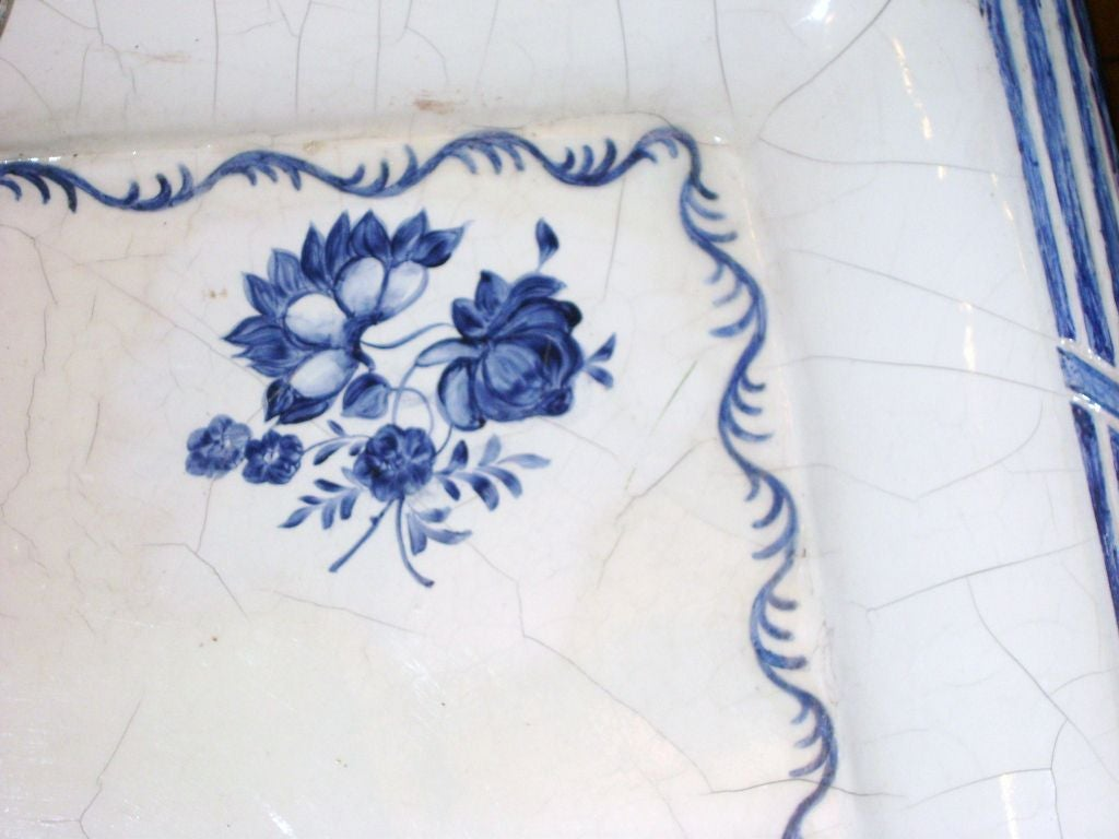 Swedish Blue and White Porcelain Top Table For Sale 2