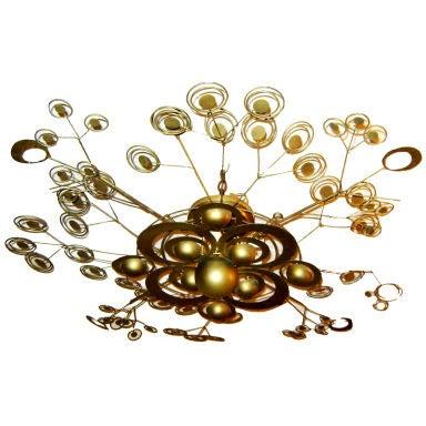 Italian Patinated Brass Light Fixture