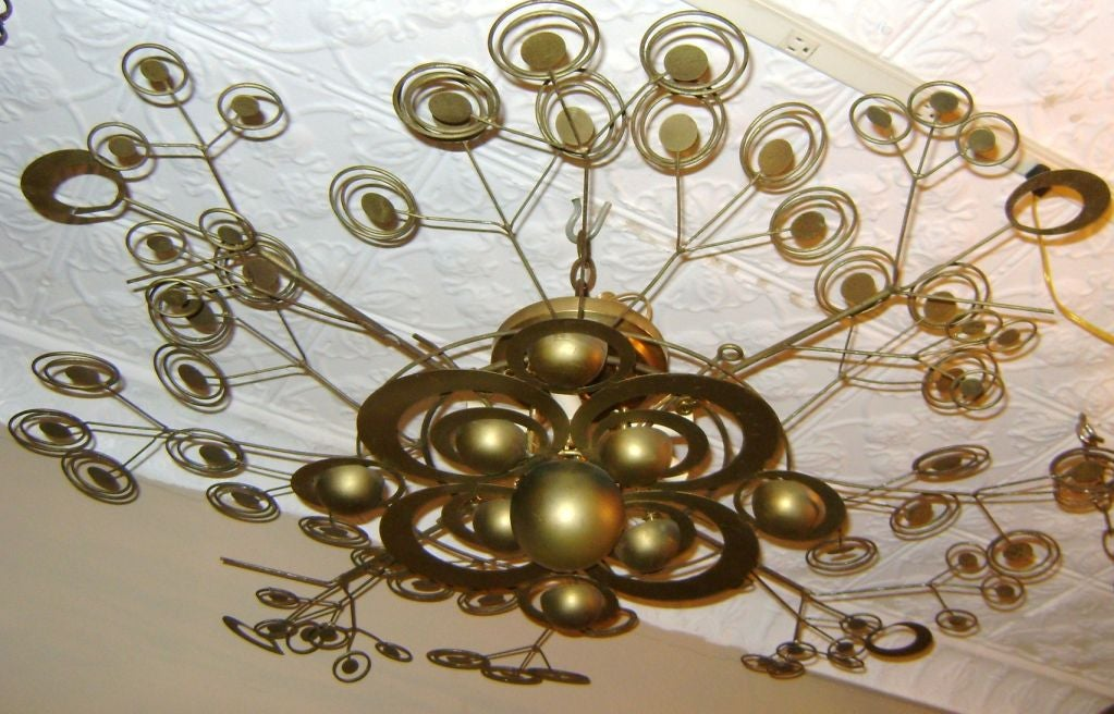 Italian Patinated Brass Light Fixture 2