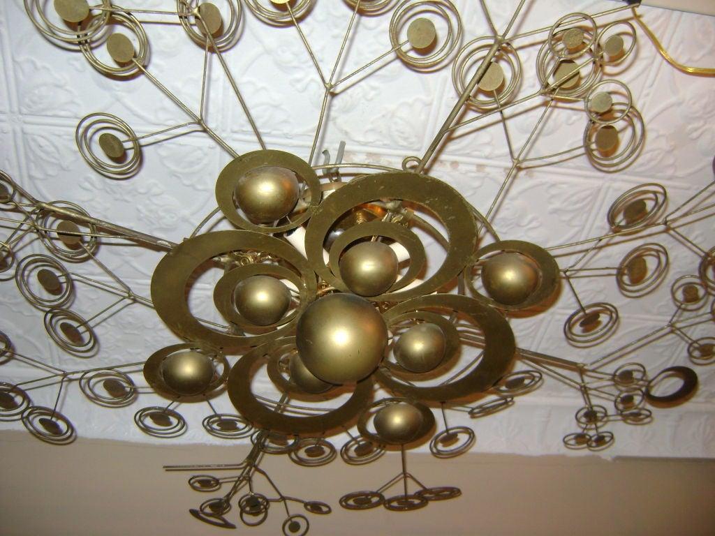 Italian Patinated Brass Light Fixture 5