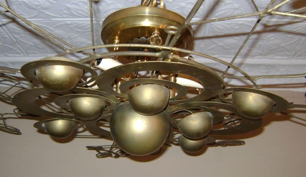 Italian Patinated Brass Light Fixture 6