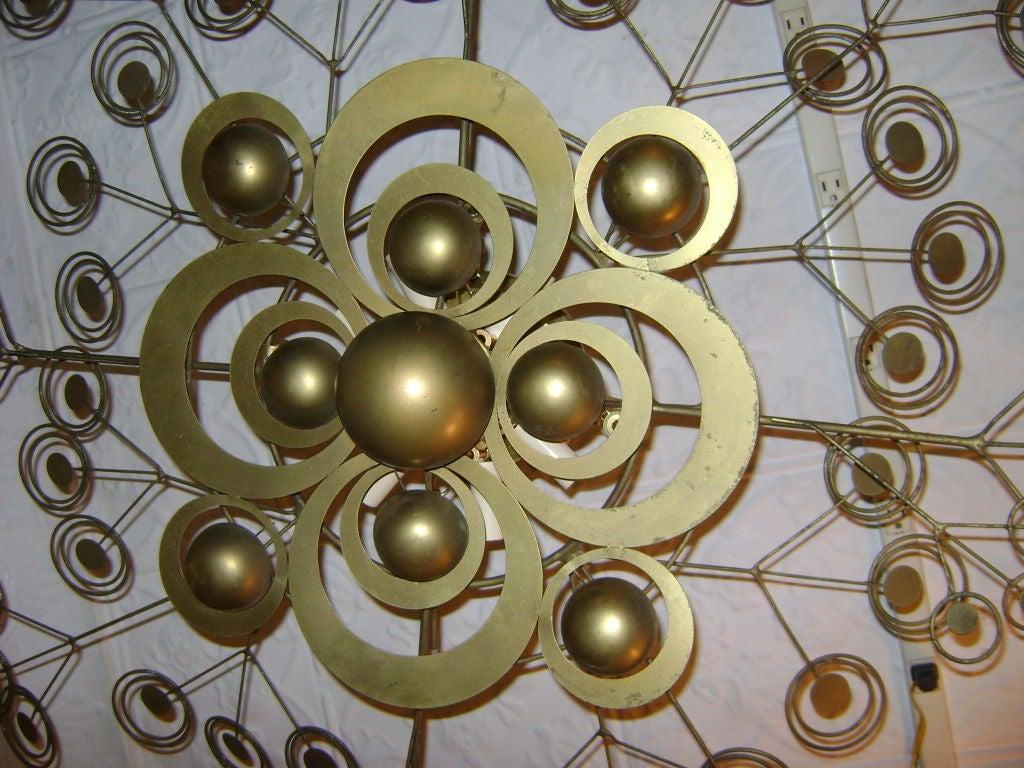 Italian Patinated Brass Light Fixture 4