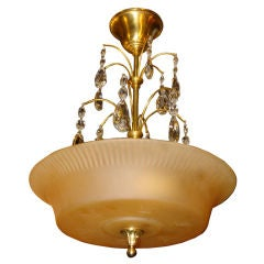 Amber Glass Light Fixture with Crystal Drops