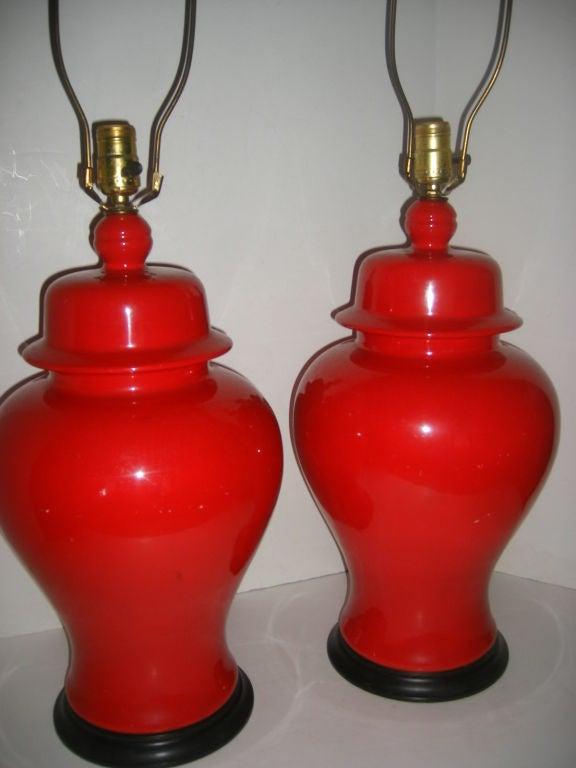 red porcelain table lamps for sale at 1stdibs. Black Bedroom Furniture Sets. Home Design Ideas