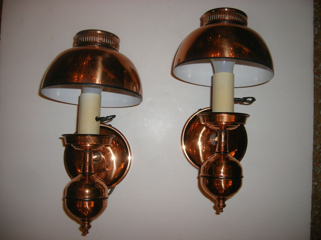 Copper Wall Lamp Shades : Copper Sconces with Shades For Sale at 1stdibs