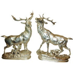 Pair of Silver Stags