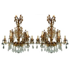 Pair of Git Metal Chandeliers with Crystals