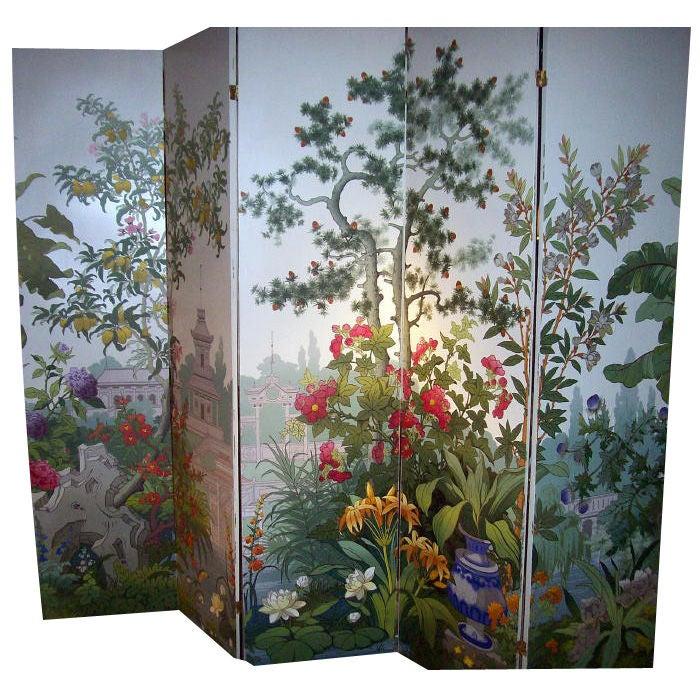 zuber 5 panel wallpaper screen at 1stdibs