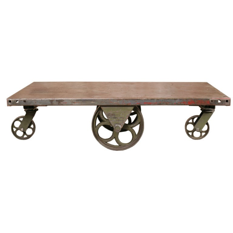 Vintage industrial all metal wheeled cart coffee table at 1stdibs Industrial metal coffee table