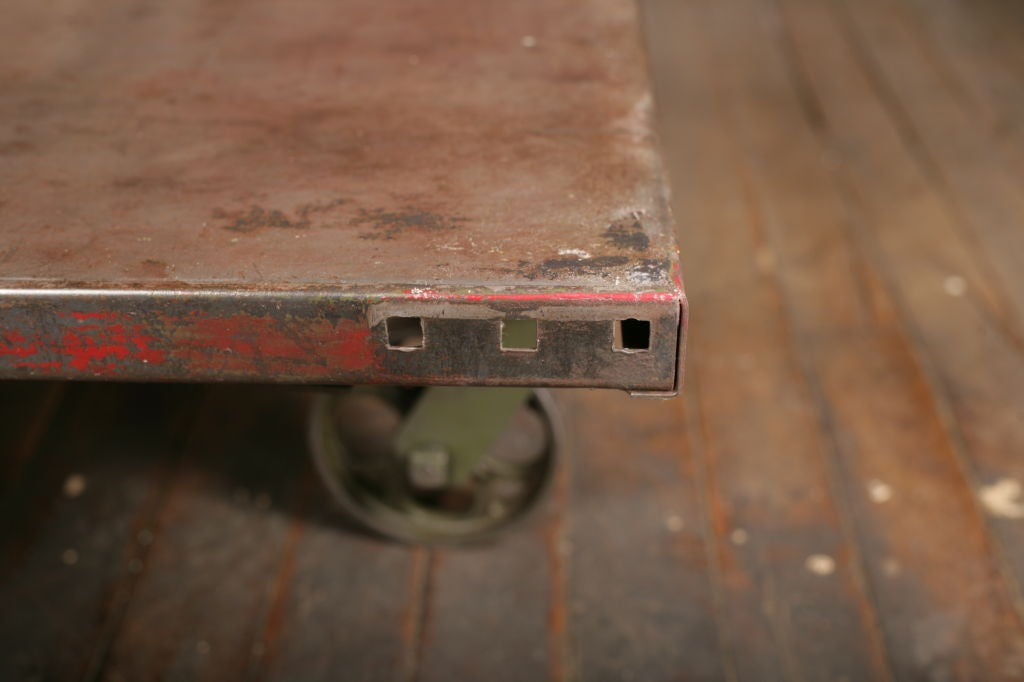 Vintage Industrial All Metal Wheeled Cart Coffee Table At