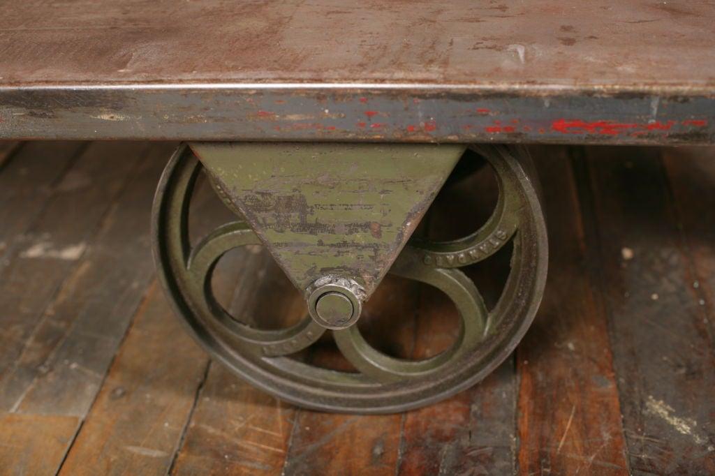 Vintage Industrial All Metal Wheeled Cart/Coffee Table 1