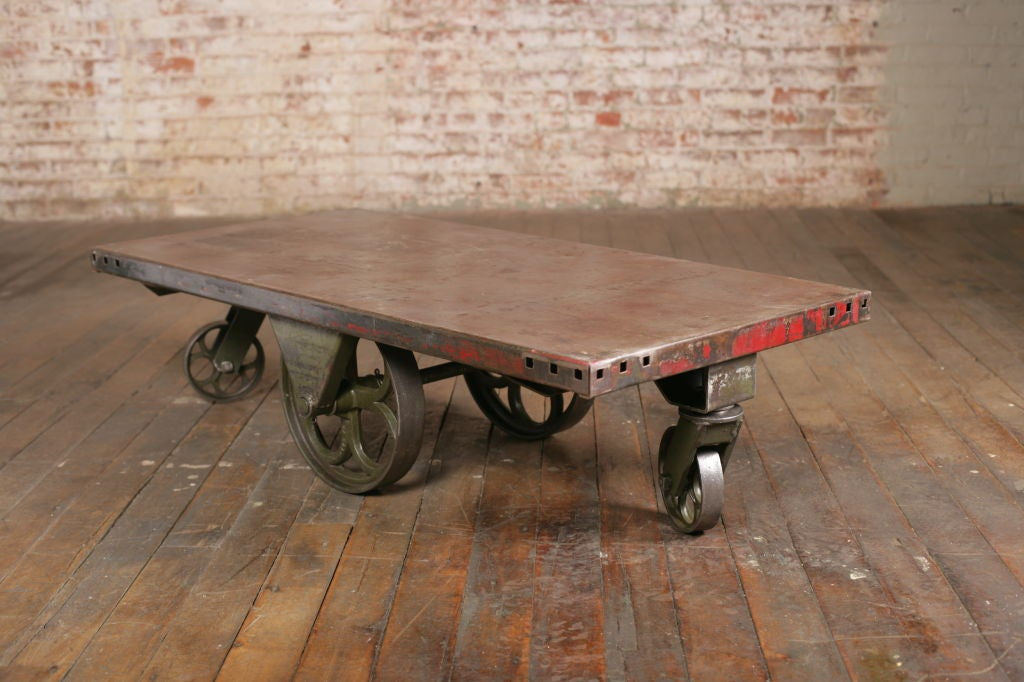 American Vintage Industrial All Metal Wheeled Cart/Coffee Table