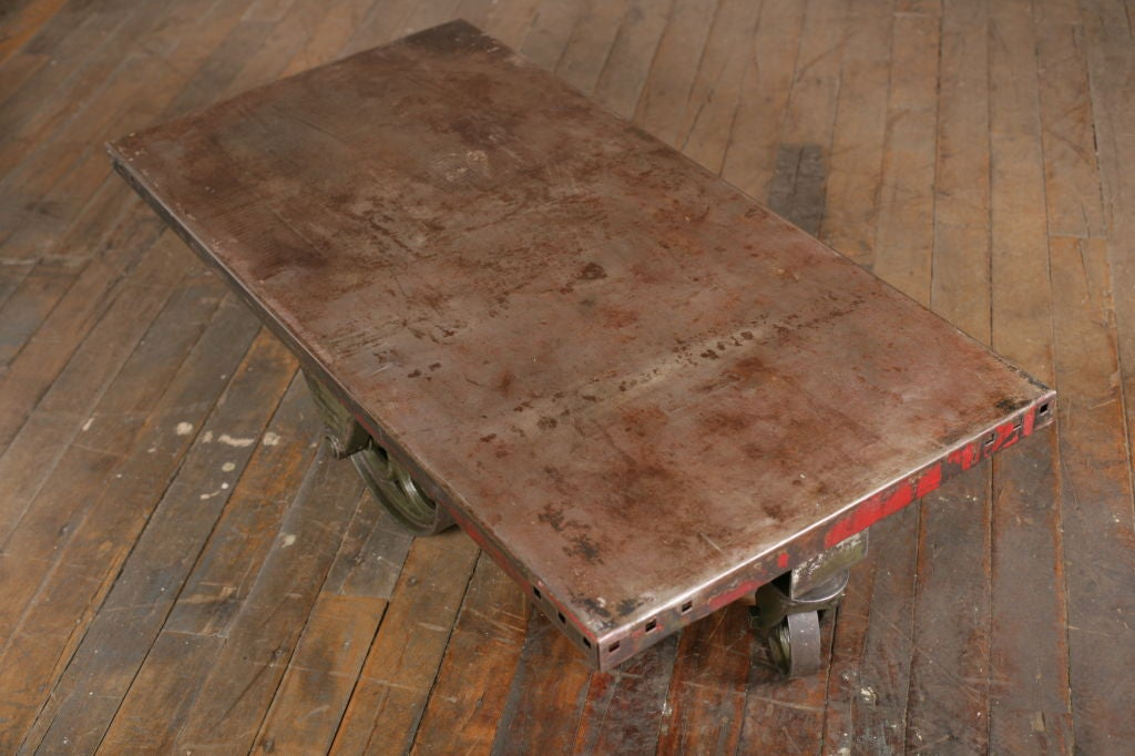 20th Century Vintage Industrial All Metal Wheeled Cart/Coffee Table