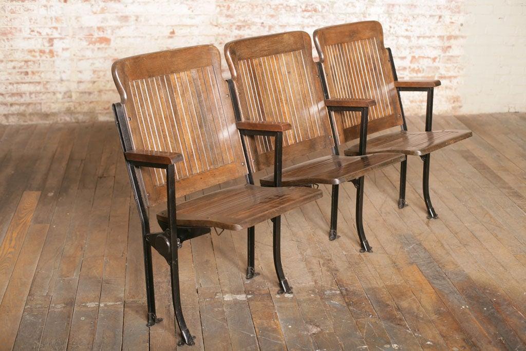 Heywood - Wakefield Open End Wood & Cast Iron Theater Seats 3