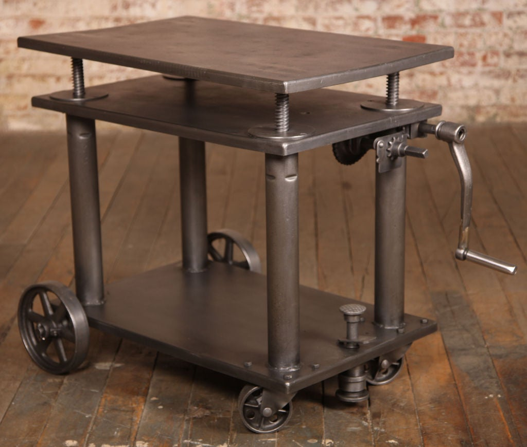 vintage industrial adjustable metal die lift cart table at 1stdibs. Black Bedroom Furniture Sets. Home Design Ideas