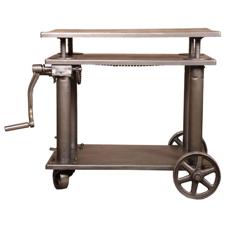 Vintage Industrial Adjustable Metal Die Lift Cart / Table