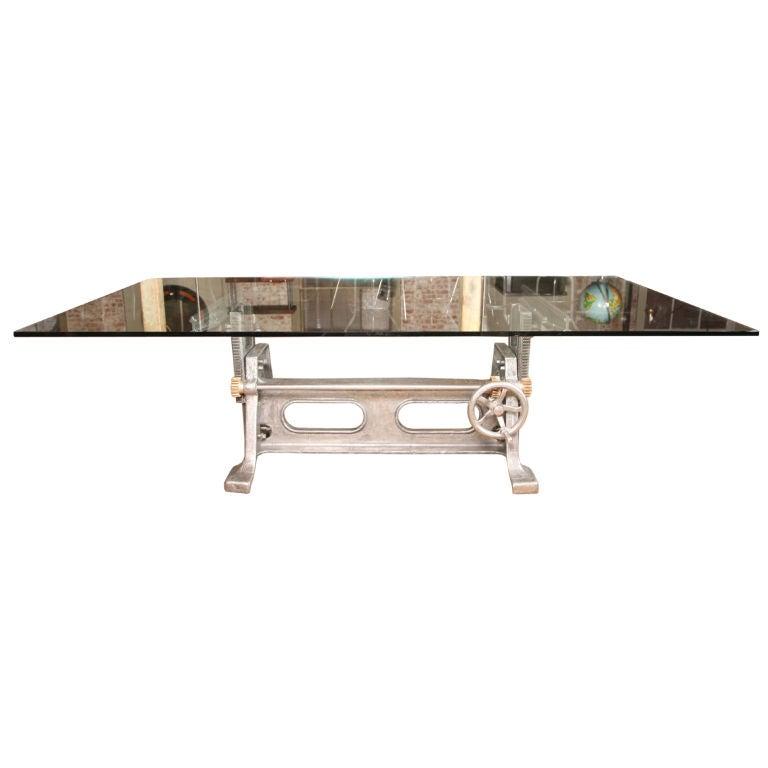 vintage industrial adjustable cast iron table base at 1stdibs. Black Bedroom Furniture Sets. Home Design Ideas