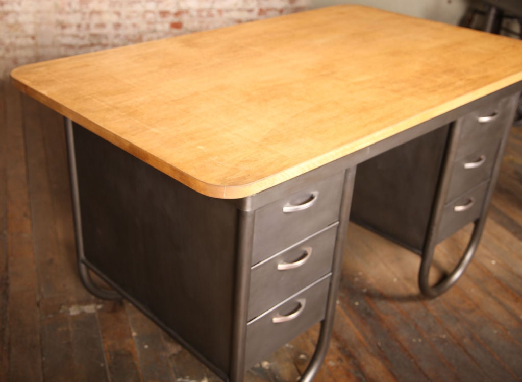 Mid Century Modern Authentic South Bend Lathe Table Metal Desk With Looped Pipe Legs
