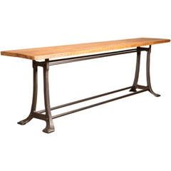Vintage Industrial Console Table with Cast Iron Base