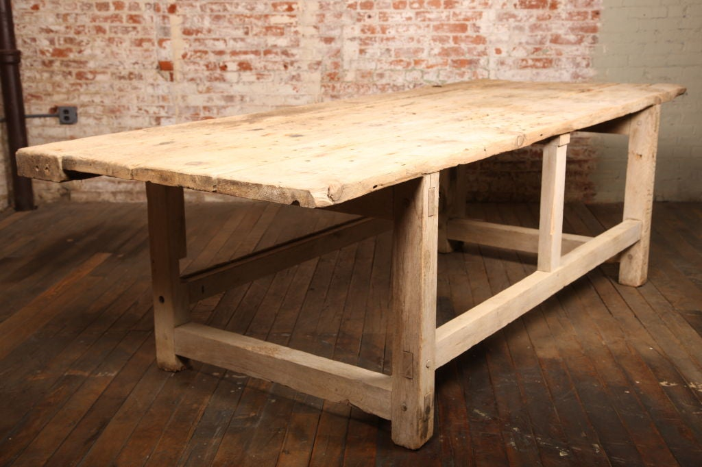 20th Century Vintage Industrial Carpenter's Workbench, Wooden Work Table with Leg Vise For Sale