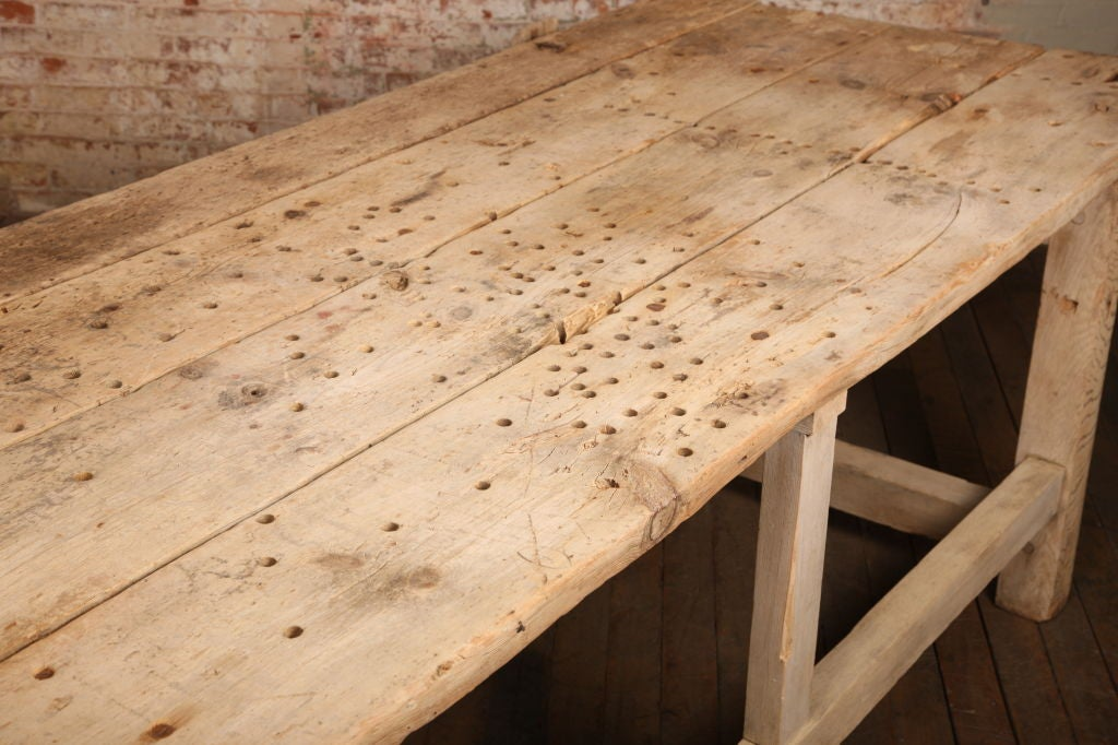 Vintage Industrial Carpenter's Workbench, Wooden Work Table with Leg Vise For Sale 2