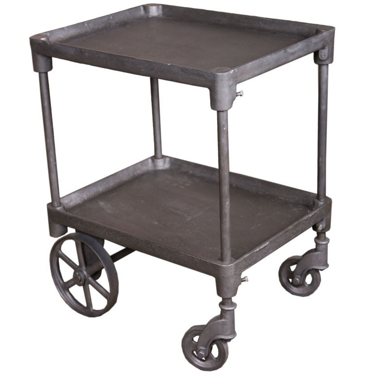Vintage Industrial 2 Tier Rolling Bar Cart Table At 1stdibs