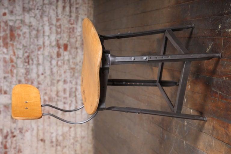 Pair Of 2 Vintage Industrial Adjustable Plywood And Metal