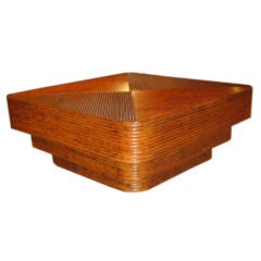 Monumental Three-Tier Multi-Band Rattan Coffee Table
