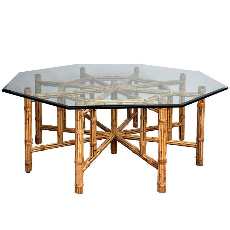 Mcguire Rattan Octagonal Glass Topped Table At 1stdibs