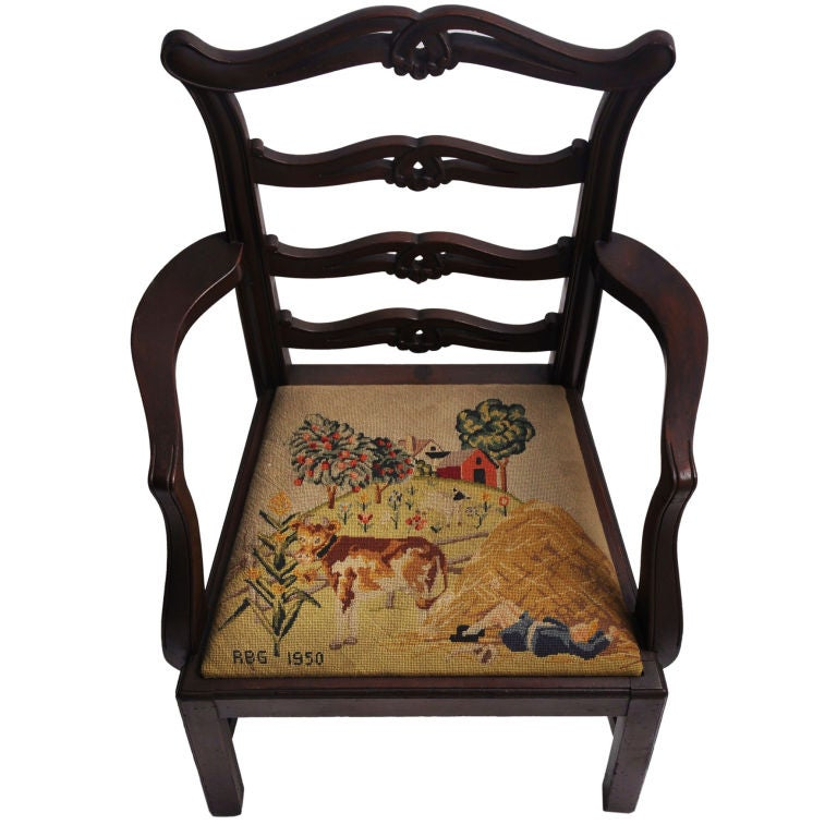 Child S Chair Needlepoint Seat Scene Little Boy Blue At