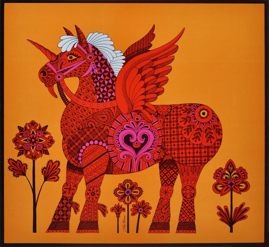 FRAMED LITHOGRAPH BY JOHN ALCORN FOR A PIN THE TAIL ON THE WINGED HORSE GAME!  TAILS AND MASK TO CUT OUT.  GREAT 1960S STYLE.  PINK ORANGE AND BLACK