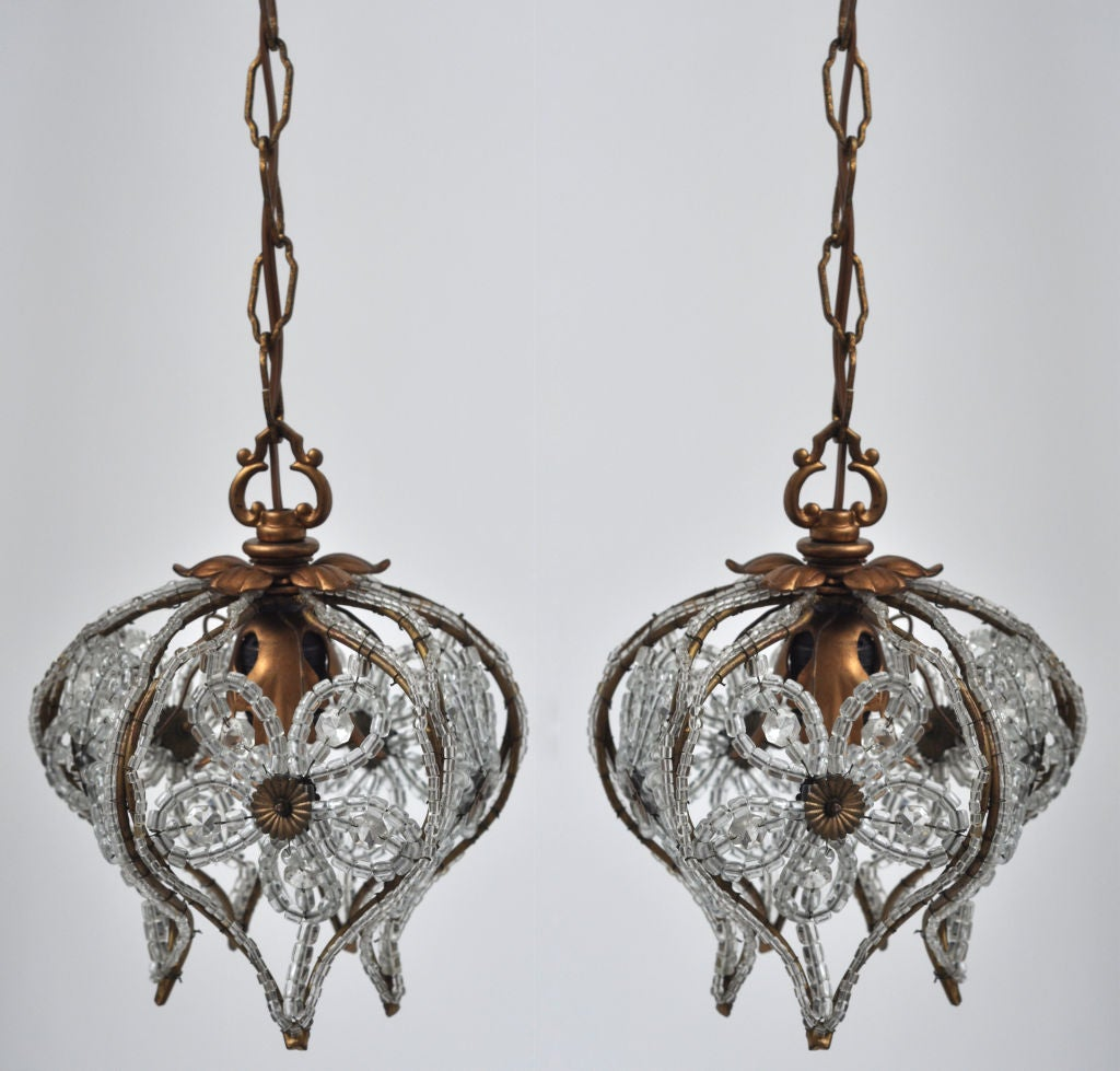 Italian Hanging String Lights : PAIR OF ITALIAN BEADED HANGING LIGHTS at 1stdibs