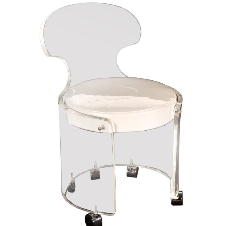 Lucite and leather vanity chair at 1stdibs - Acrylic vanity chair ...