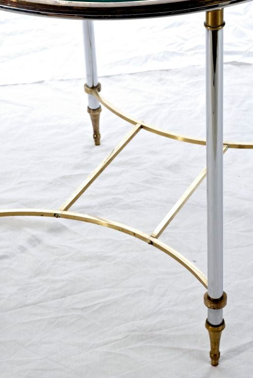 Pair of metal and glass end tables by jansen at 1stdibs