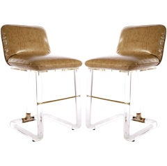 Pair of Lion In Frost Bar Stools