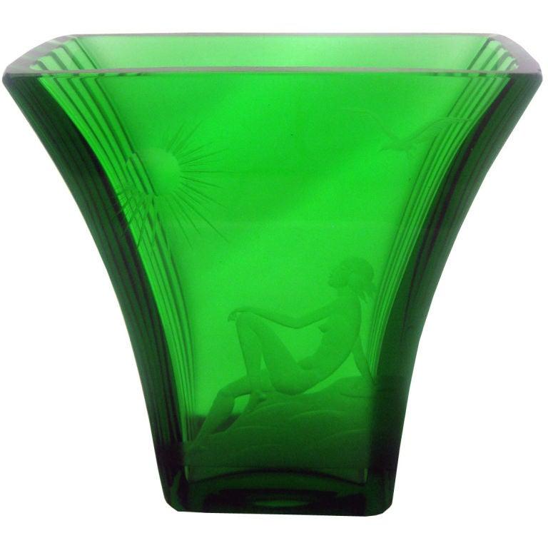 Swedish Art Deco Emerald Green Etched Glass Vase At 1stdibs