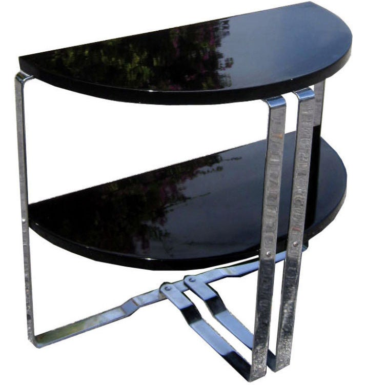 Wolfgang Hoffman American Art Deco Demi Lune End Table At