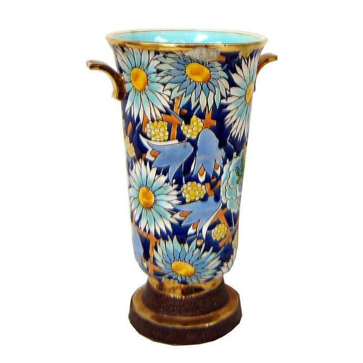 Boch Freres Belgian Art Deco Blue Flowers Vase At 1stdibs