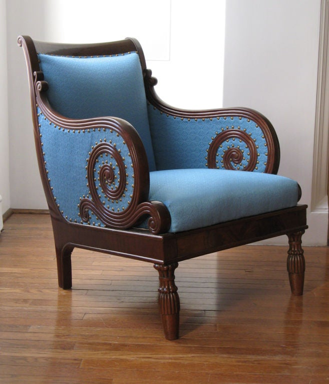 Swedish Neoclassical bergere, scrolled arms, mahogany 1820. image 2