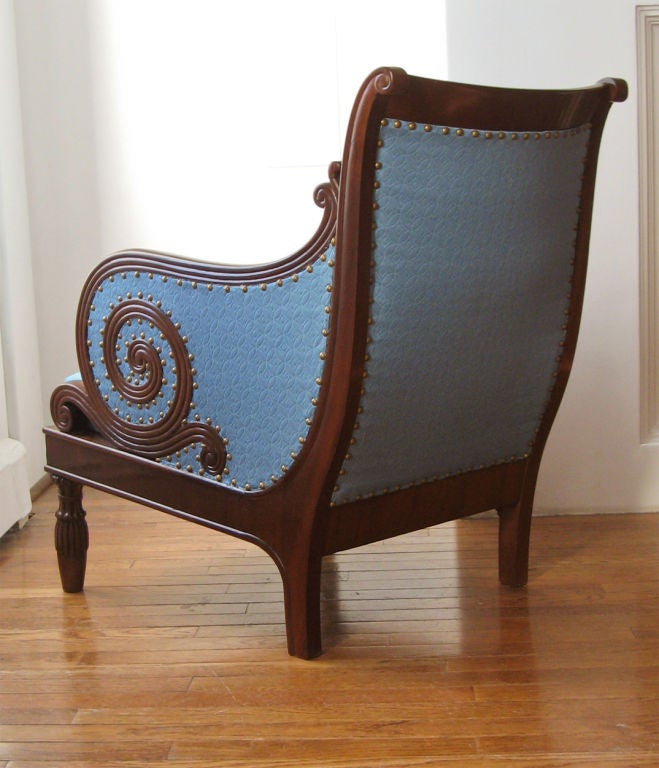 Swedish Neoclassical bergere, scrolled arms, mahogany 1820. image 6