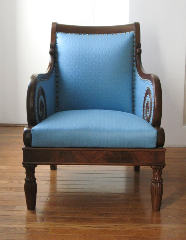 Swedish Neoclassical bergere, scrolled arms, mahogany 1820. image 4