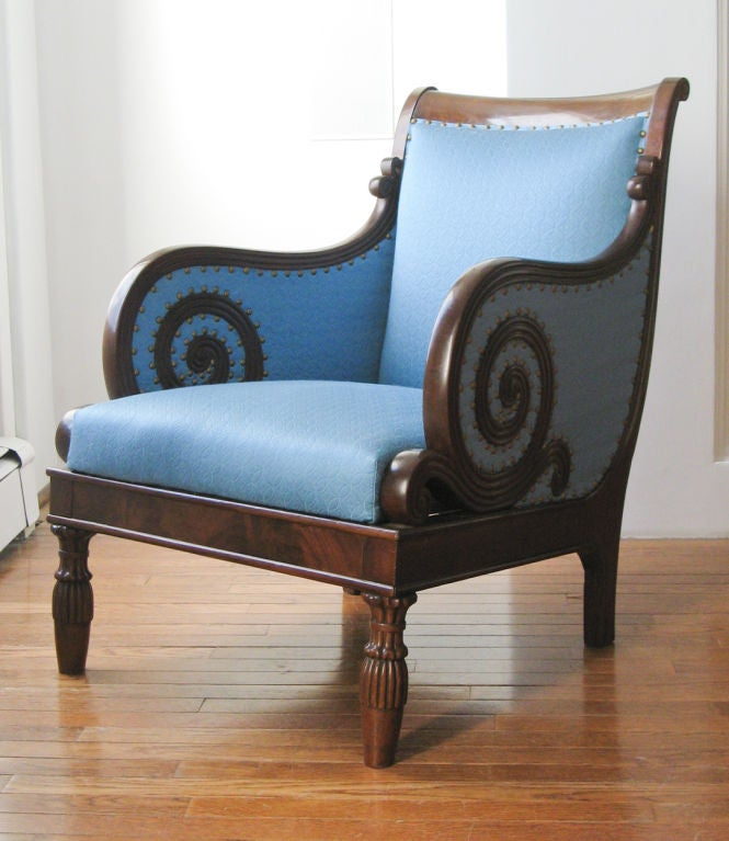 Swedish Neoclassical bergere, scrolled arms, mahogany 1820. image 3