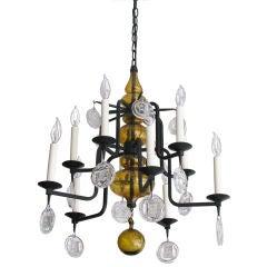 Erik Hoglund metal 10-arm chandelier amber glass and crystals.