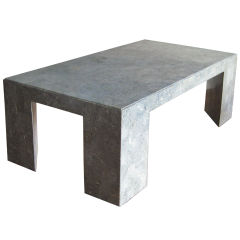 Tessellated fossil stone coffee table on wood frame late 70's